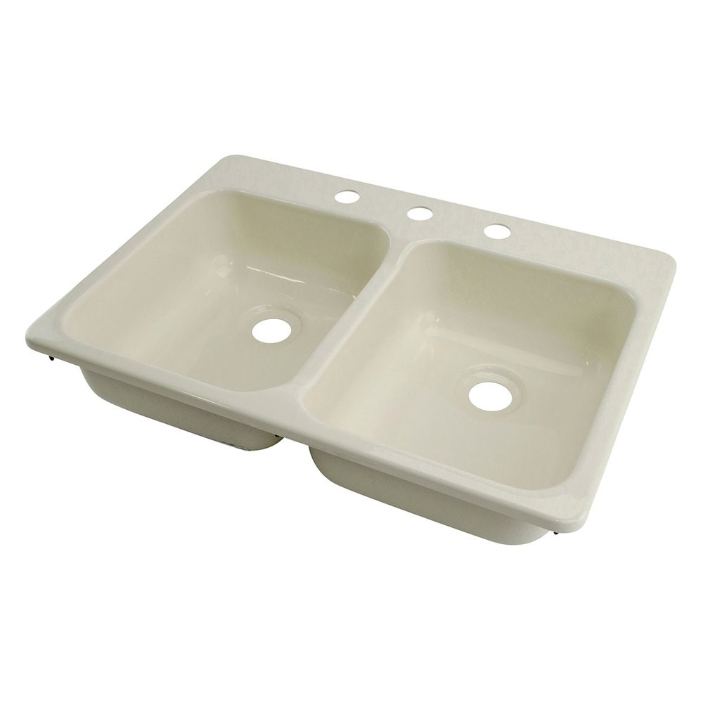 """Galley Kitchen Sink: 25"""" X 17"""" Parchment Double Kitchen/Galley Sink With 3 Holes"""