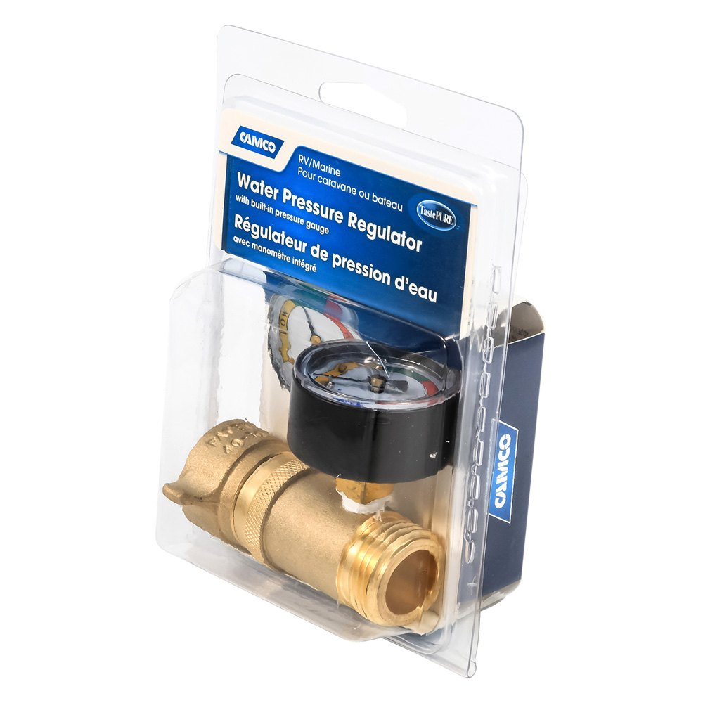 Camco 40064 Brass Water Pressure Regulator With Gauge 3 4 Fpt X 3 4 Mpt Camperid Com