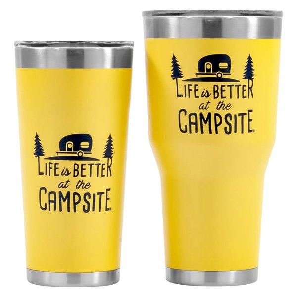 Camco 53060 Yellow Life is Better at The Campsite Tumbler 30 oz