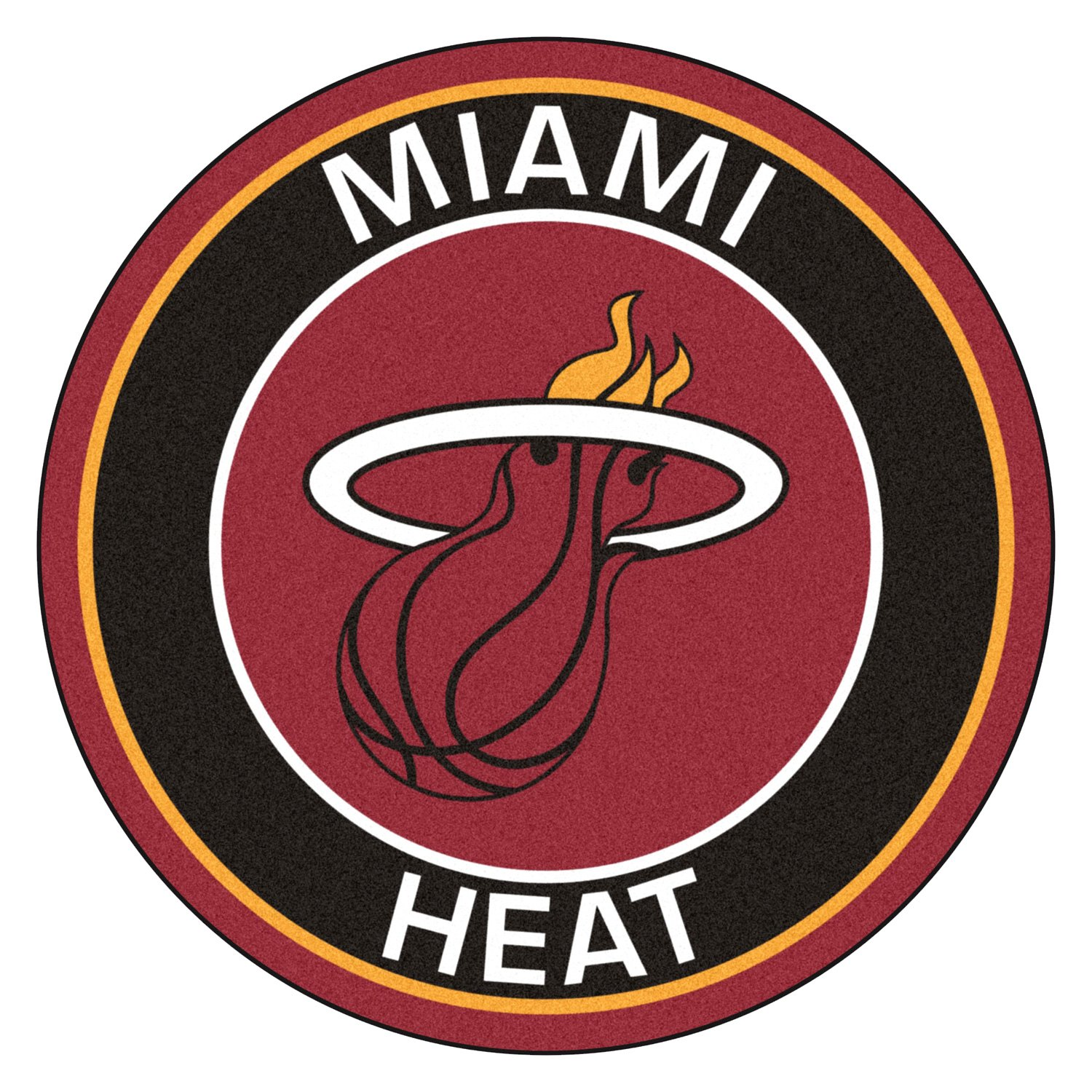Fanmats 18841 Nba Miami Heat Round Nylon Area Rug With Flaming Basketball Logo Camperid Com