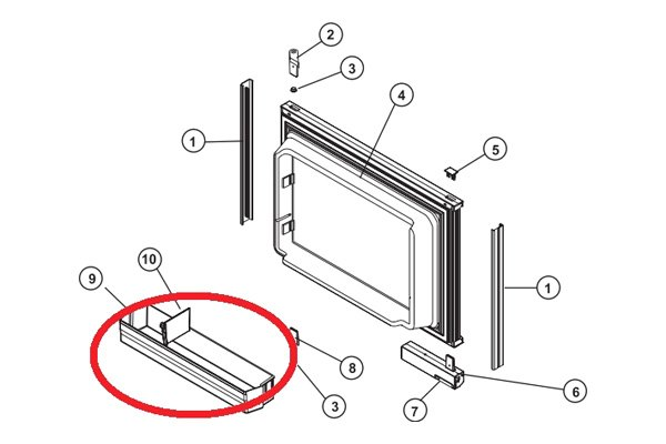 Norcold® 624863 - White Upper/Lower Refrigerator Door Bin