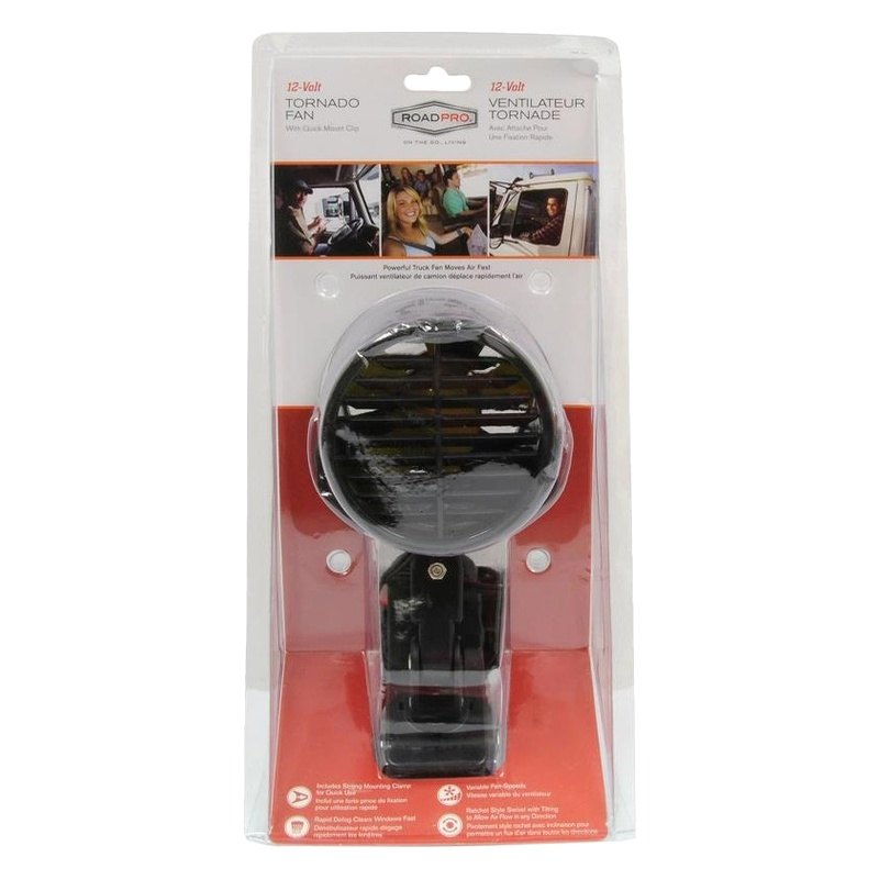 RoadPro RPSC-857 12-Volt Tornado Fan with Removable Mounting Clip Black