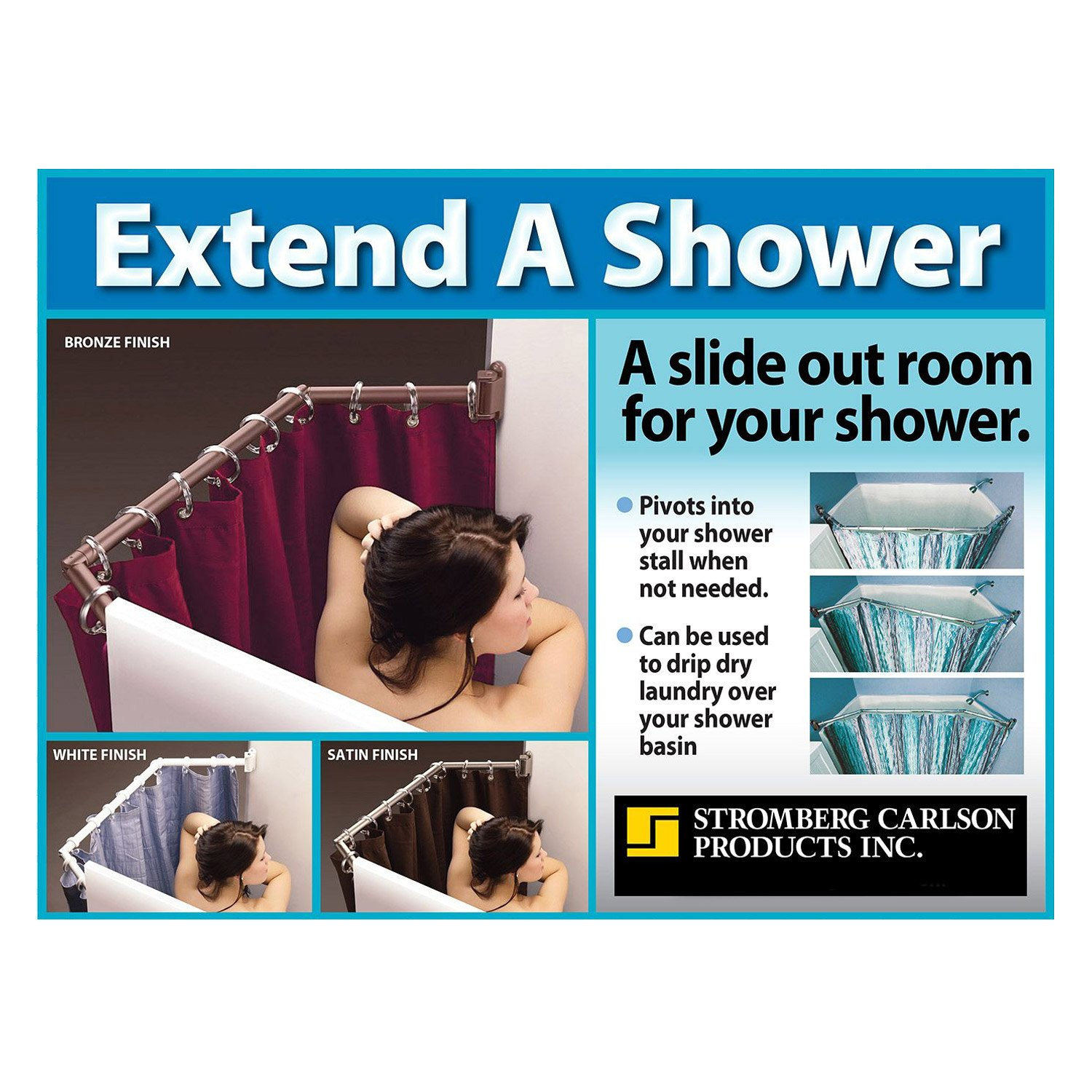 Stromberg Carlson® EXT-3542 - White Nickel Extend-A-Shower Curtain Rod
